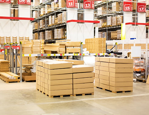 flat pack boxes in warehouse